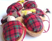 Walnut Babies Christmas ornaments- Holiday decor- Set of 6 ( Red and green duvet )