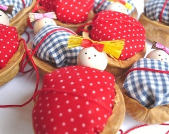 Walnut Babies Christmas ornaments- Set of 2 ( Red and Blue duvet/ comforter)