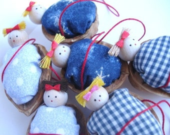 Walnut Babies Christmas ornaments- Set of 6 ( Blue duvets\/ comforters)