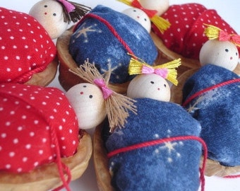 Walnut Babies Christmas ornaments- Set of 6 ( Red and dark blue duvet/ comforter )
