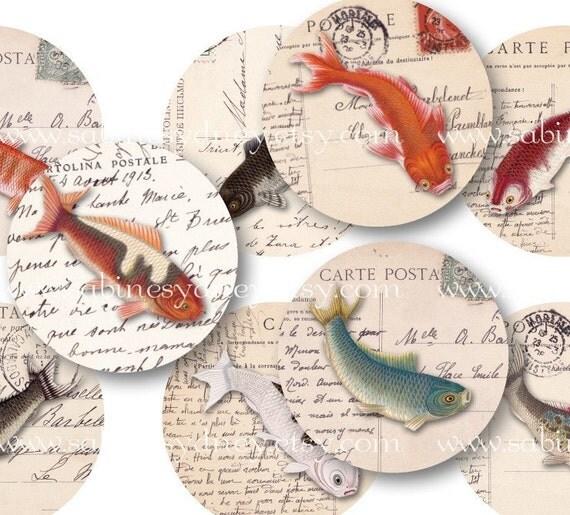 1.5 Circles - Goldfish on Ephemera - Digital Collage Sheet 1092 - Direct Download