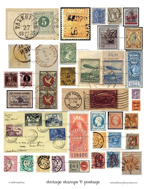 Vintage Stamps and Postage - Digital Collage Sheet - Ephemera - ATC ACEO - Buy THREE Get One FREE