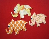 Mini Orange Elephants Iron On Patches/Appliques- set of 3