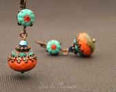 Meli 040 / Earrings dangle coral red, turquoise, polymer clay, colorful, boho, automn, sea, summer gift