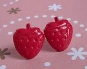 Strawberry Stud Earrings, Cute Miniature Strawberry Post Earrings