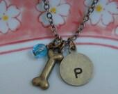 Dog Bone Necklace, Blue Glass Charm, Initial Stamped Tag, Dog Bone Charm, Memorial Necklace, Personalized Jewelry