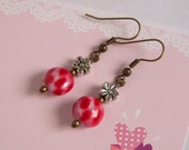 Silver Flower Red Coin Bead Earrings Antiqued Brass Affordable Jewelry