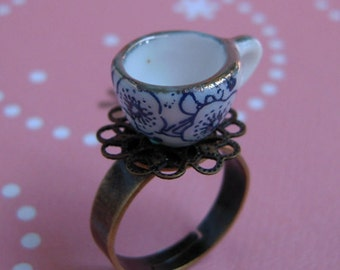 Mini Tea Cup Ring, Ceramic Cup, Miniature Jewely, Coffee Cup, Brass Filigree, Adjustable Size