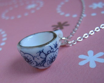 Mini Tea Cup Necklace, Silver Chain Or Antiqued Brass Chain, Ceramic Cup Miniature Jewelry