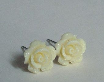 Dainty Rose Stud Earrings, Ivory White Rose Earrings, Floral Jewelry, Cream Flower