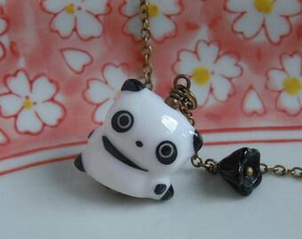 Panda Necklace, Ceramic Panda Bear Pendant, Cute Black Flower, Antiqued Brass Chain, Kawaii Jewelry