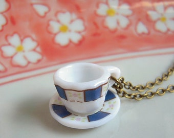 Classic Blue Tea Cup Necklace, Miniature Coffee Cup Pendant, Antiqued Brass Chain Or Silver Chain