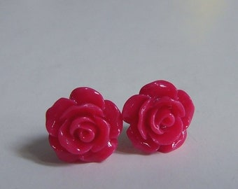 Red Rose Stud Earrings, Dainty Rose, Floral Jewelry