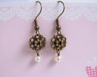 White Pearl Flower Wheel Earrings, Antiqued Brass, Tiny Pearl, Everyday Jewelry