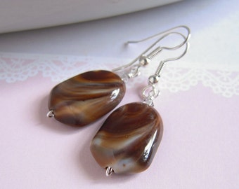 Faux Chocolate Earrings, Marble Chocolate Brown, Clear Crystal, Silver Wire Wrapped, Handmade Jewelry
