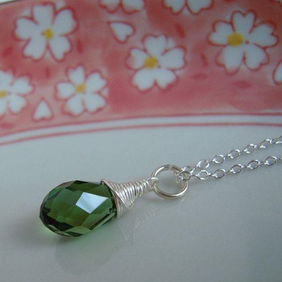 Green Crystal Necklace, Teardrop Pendant On Silver Chain, Forest Green, Wire Wrapped Jewelry