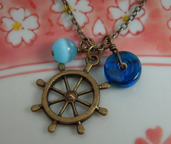Ship Wheel Necklace, Navy Blue Glass And Sky Blue Cats Eye, Cluster Charms, Antiqued Brass Chain,  Nautical Jewelry