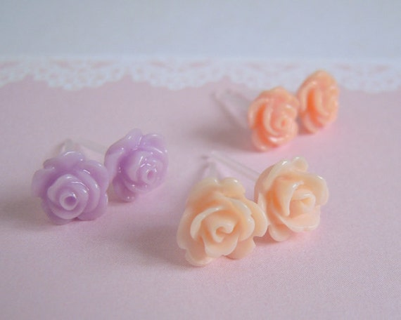 Three Pairs Tiny Resin Flower Studs Earrings - Set A