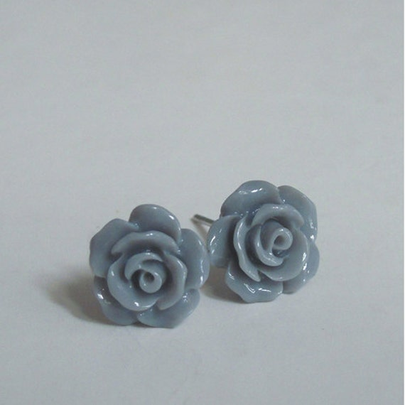 Dainty Rose Stud Earrings - Gray Rose, Resin Flower Jewelry, Stainless Steel Post
