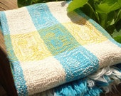 Blue, Yellow, and White Handwoven Picnic Towel