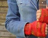 Changing Leaves Fingerless Mitts in Reds, Oranges, a Bit of Green and Yellow