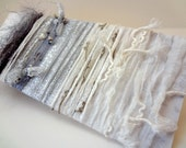 Yarn Scraps in Silver and White with Beads