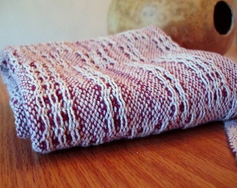 Handwoven Burgundy and White Towel