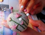 Pink Flower pin cushion ring