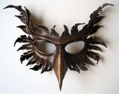 Griffin leather mask, hand-painted in chocolate brown and bronze, gryphon, Halloween