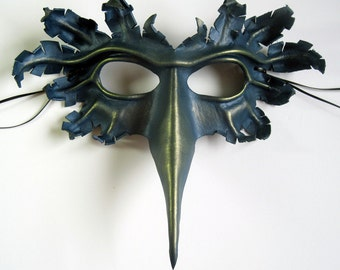 Bird mask, hand-molded leather, hand-painted in silver-blue and green-gold, Halloween