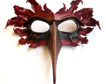 Cardinal bird mask, hand-molded leather, hand-painted in scarlet red, black, and bronze, Halloween