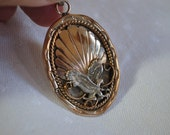 Gold and Silver Pendant with Eagle  Signed HH  Vintage