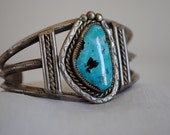 Vintage Silver and Large Turquoise Stone Cuff Bracelet