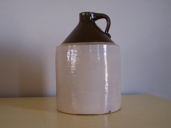 Antique Whiskey Jug Brown and White Eleven Inches Tall  PRICE REDUCED
