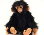 Polymer Clay and Fur Jointed Black Chimp