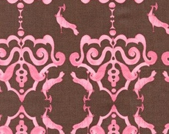 Sale Fabric Tina Givens Plush Peacocks in Pink 1/2 Yard from the Olivias Holiday Collection