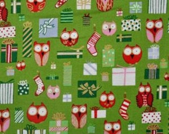 Christmas Fabric Alexander Henry Holiday Hoot in Green 1/2 Yard