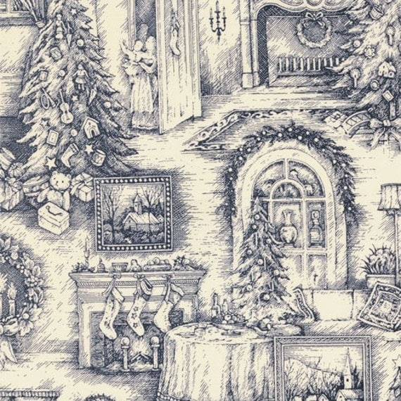 Traditions Christmas Toile Fabric In Night Blue And Cream