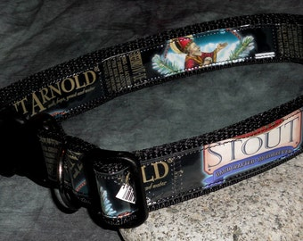 Adjustable Dog Collar from Recycled Saint Arnold Stout Beer Labels