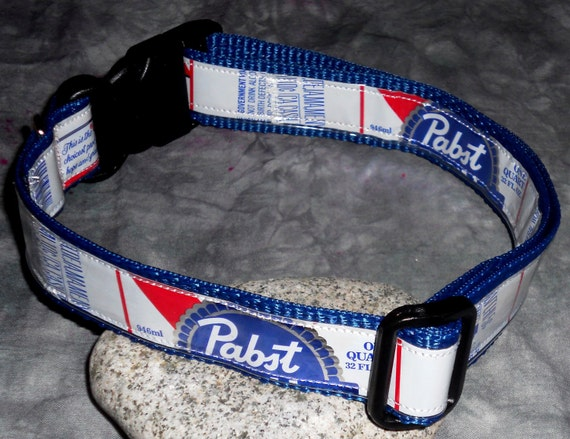 Dog Collar from Recycled Pabst Blue Ribbon Beer Labels