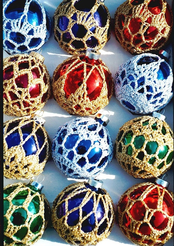 Crocheted Christmas Ornament Covers Box of 6 Finished Product