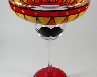 Moustache Margarita Glass, Hand Painted, Red Orange Yellow, Southwest Kitchen Decor
