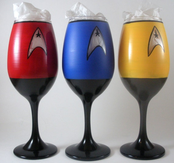 Star Trek Wine Glasses Hand Painted