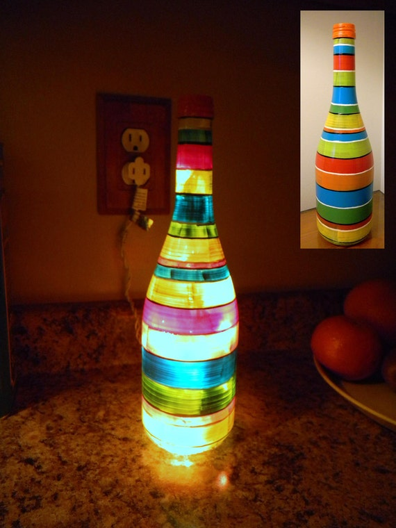 Wine bottle light, Hand Painted, fun bright stripes