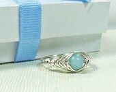 Ring-Sterling Silver Wire Wrapped -- Herringbone weave with Natural Amazonite Bead Size 8