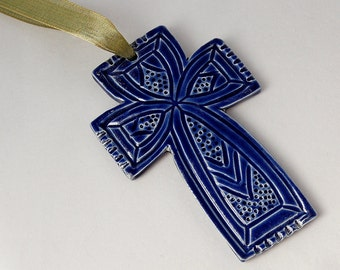 Royal Blue Cross Ornament - Ceramic Stoneware Christmas Decoration