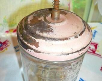 Vintage  Food Chopper Pink Metal Top Shabby Kitchen Retro Robins Egg Blue chopping Blade Wood Spring