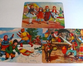 Vintage Jigsaw Puzzle Family Games  Children  Flags Shapes Dance Educational