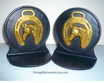 Horse Bookends Classic Mid Century Bookends Cowboy  Bookends Brass Cast Iron Bookends Library Horse Lovers