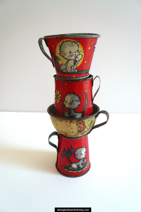 Vintage Tin Toy Cups Set of Four